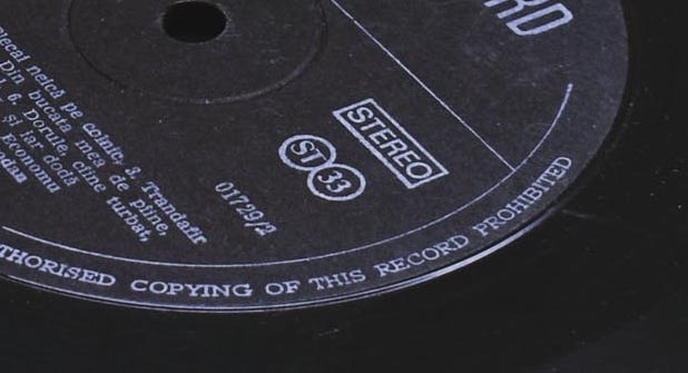 33 rpm Vinyl Label